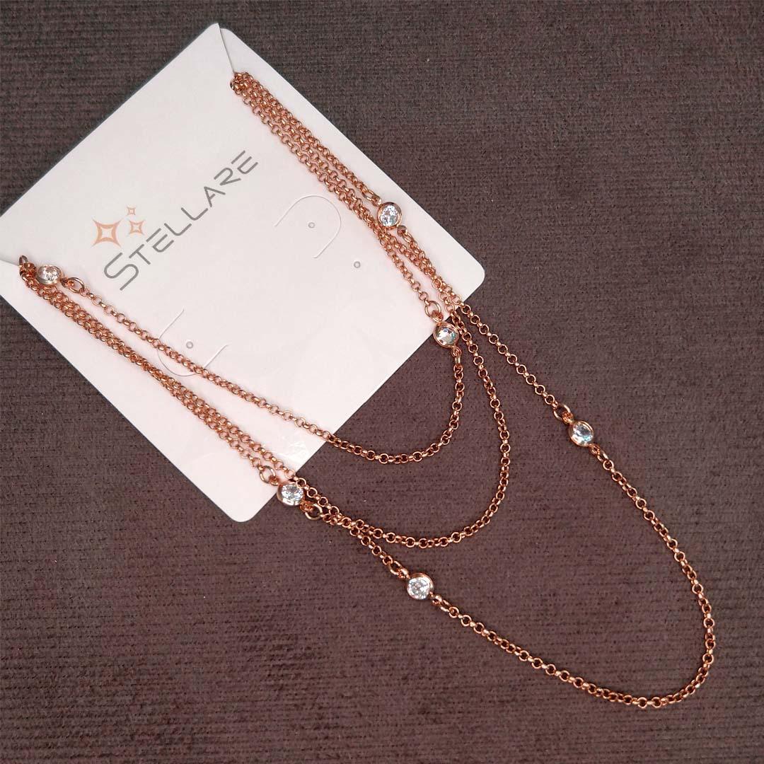 Colar Longo estilo Tiffany com Zircônia banho Rose Gold