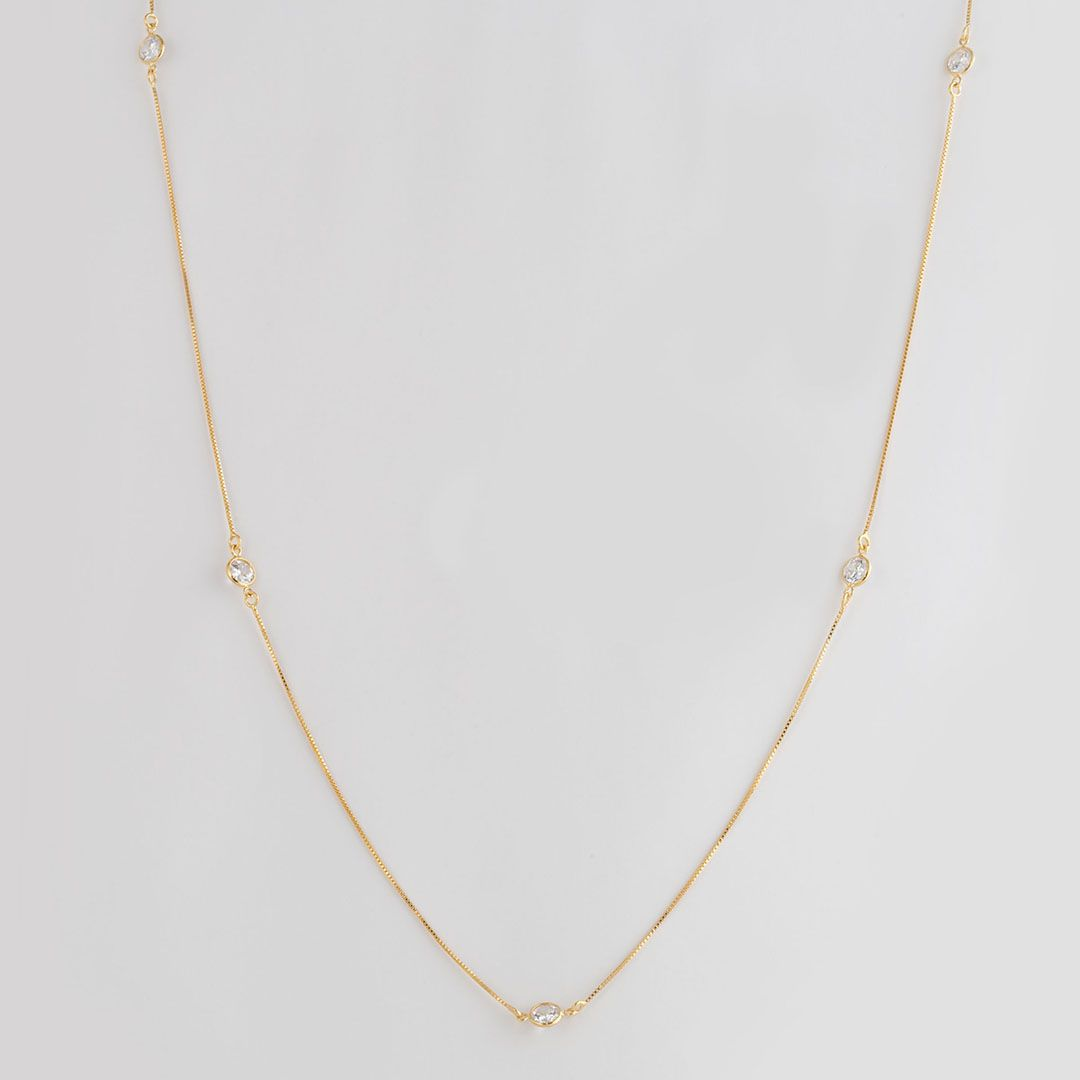 Colar longo estilo Tiffany com Zircônias Pequenas e banho em Ouro Amarelo