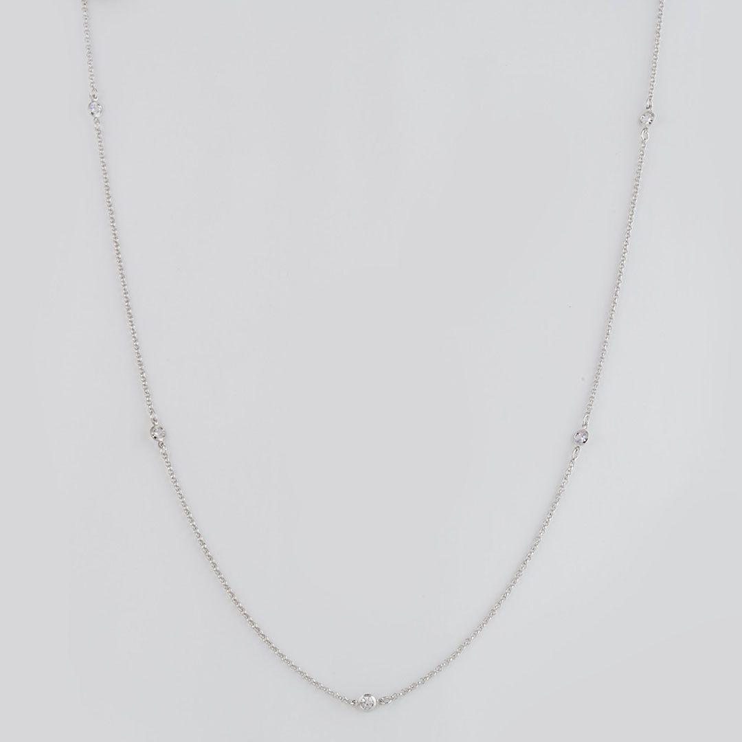 Colar longo estilo Tiffany com Zircônias Pequenas e banho em Ródio Branco