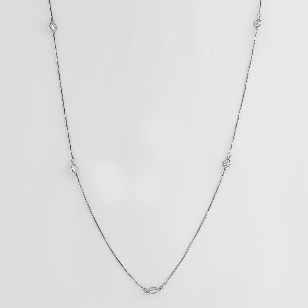 Colar longo estilo Tiffany com Zircônias Pequenas e banho em Ródio Negro