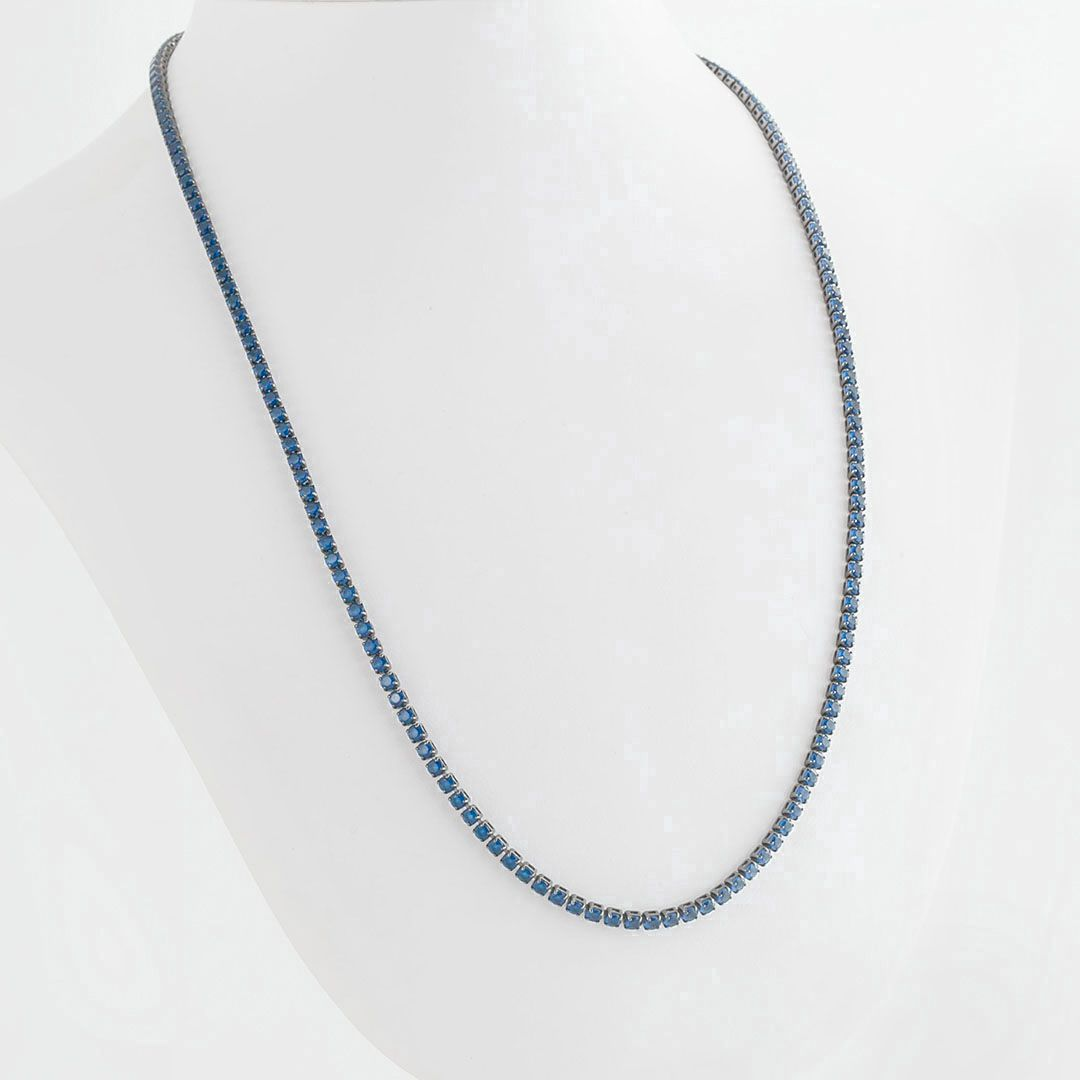 Colar Riviera longa 3mm Azul Royal banhada a Ródio Negro