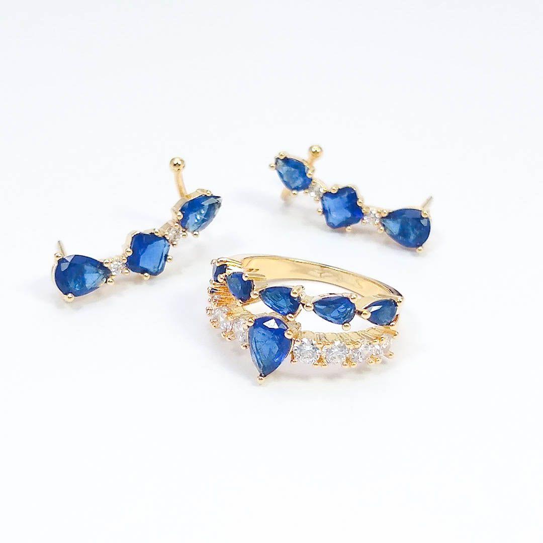 Conjunto Brinco Earcuff e Anel com Zircônias e cristal Fusion Azul banho Ouro 18k