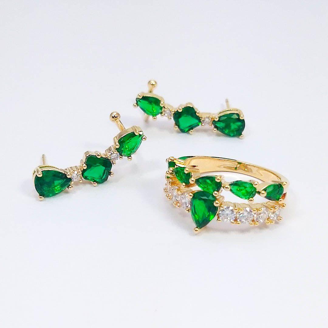Conjunto Brinco Earcuff e Anel com Zircônias e cristal Fusion Verde banho Ouro 18k
