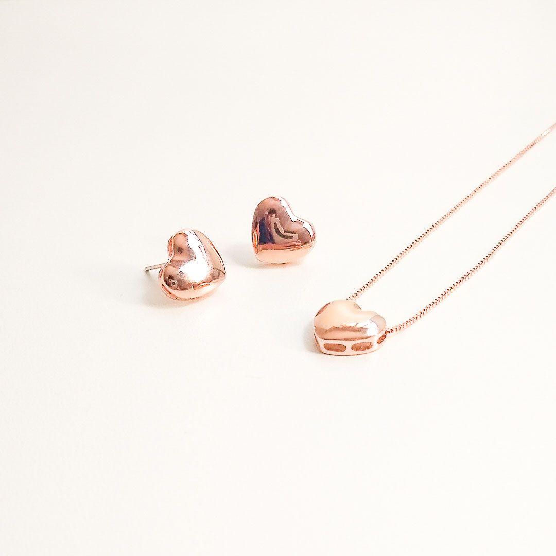 Conjunto Coração liso banhado a Ouro Rosé