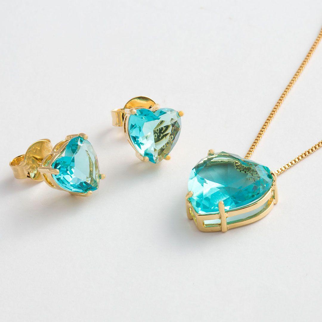 Conjunto Coração Grande em Cristal Azul Turquesa translúcido com banho em Ouro Amarelo