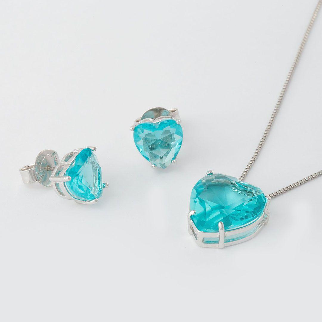 Conjunto Coração Grande em Cristal Azul Turquesa translúcido com banho em Ródio Branco