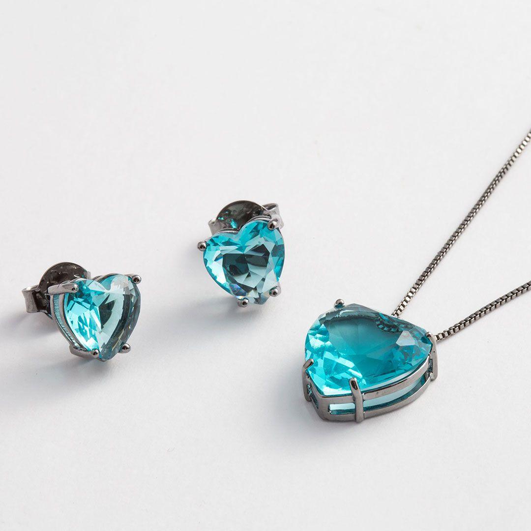 Conjunto Coração Grande em Cristal Azul Turquesa translúcido com banho em Ródio Negro