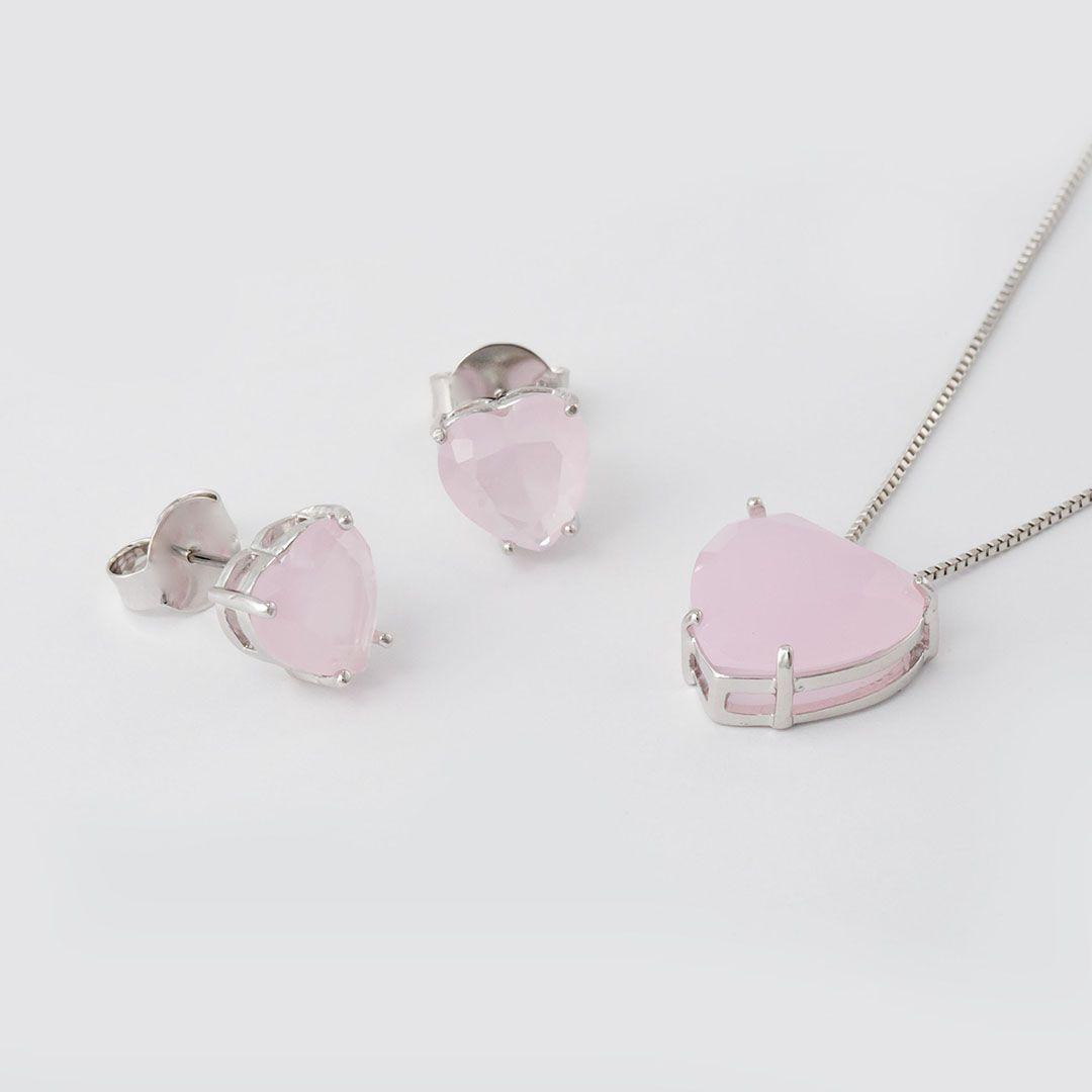 Conjunto Coração Grande em Cristal Rosa Claro fosco com banho em Ródio Branco