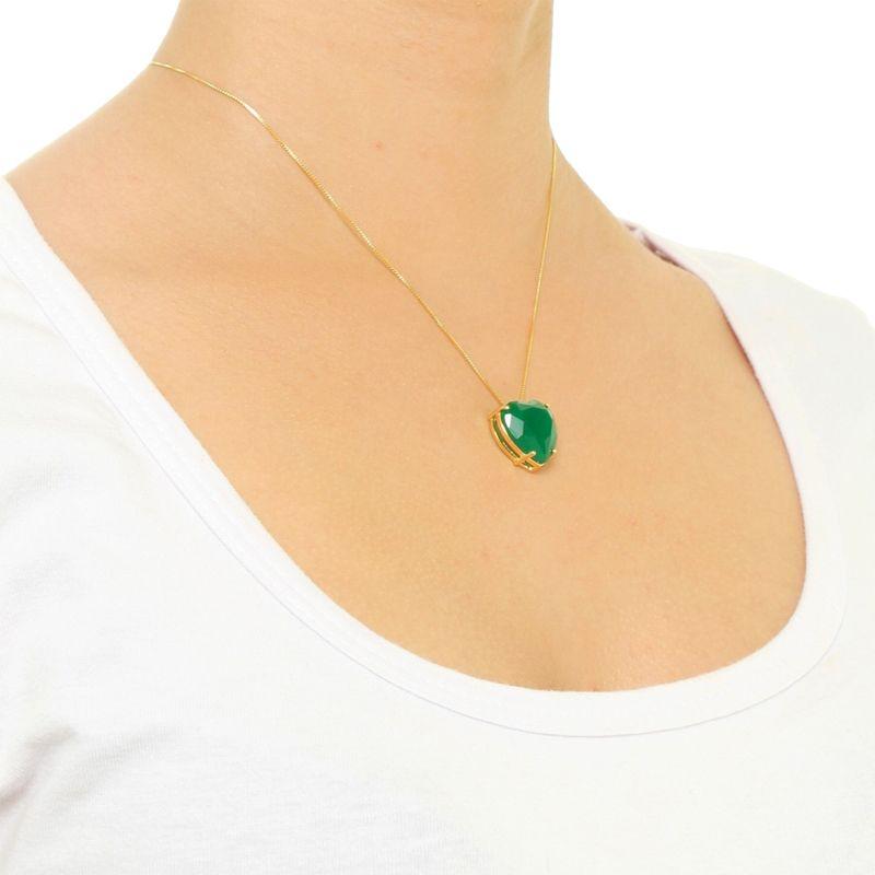 Conjunto de Coração Ponto de Luz Grande em Cristal Verde Esmeralda translúcido com banho em Ródio Negro