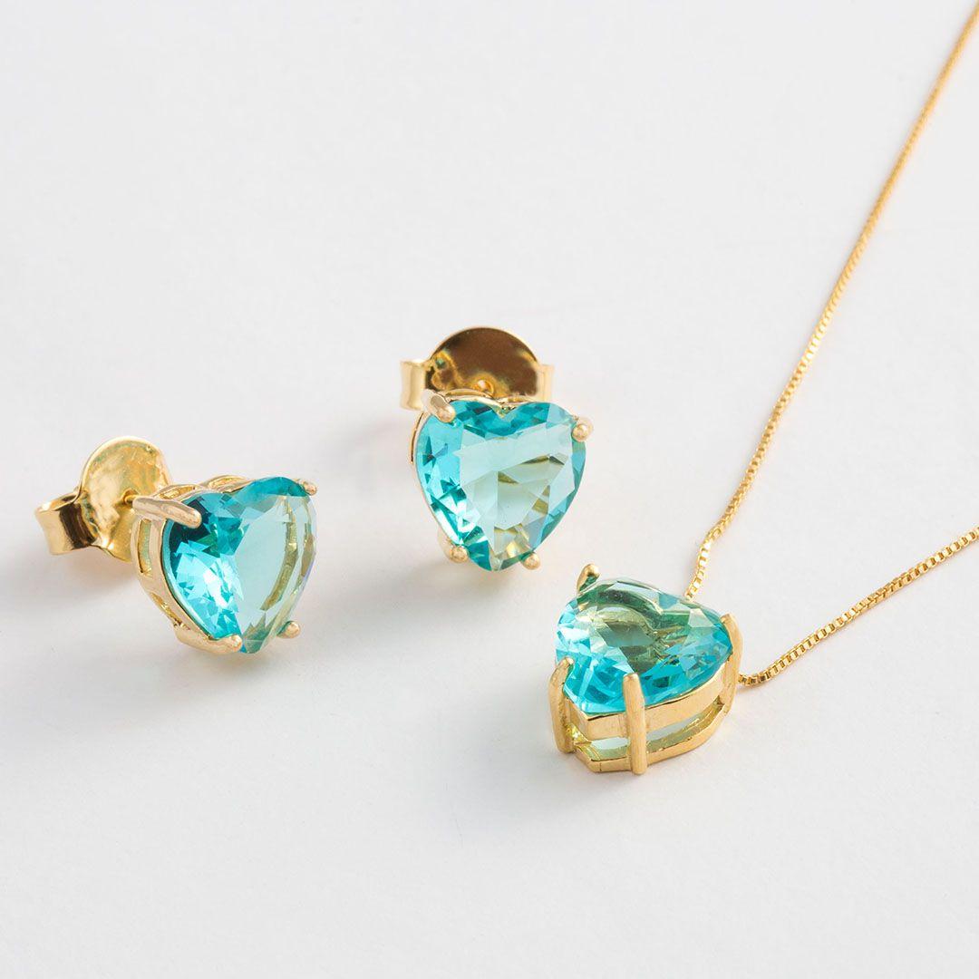 Conjunto Coração Médio em Cristal Azul Turquesa translúcido com banho em Ouro Amarelo