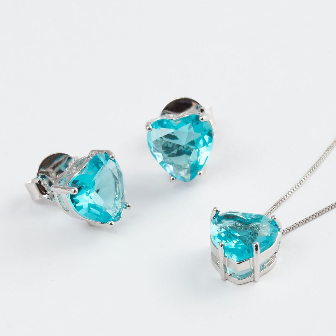 Conjunto Coração Médio em Cristal Azul Turquesa translúcido com banho em Ródio Branco