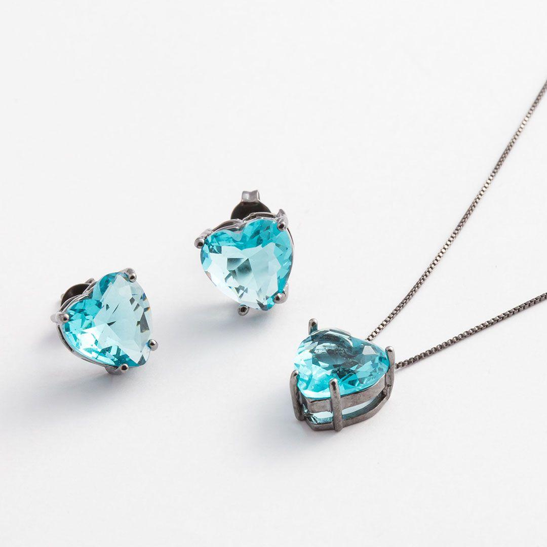 Conjunto Coração Médio em Cristal Azul Turquesa translúcido com banho em Ródio Negro