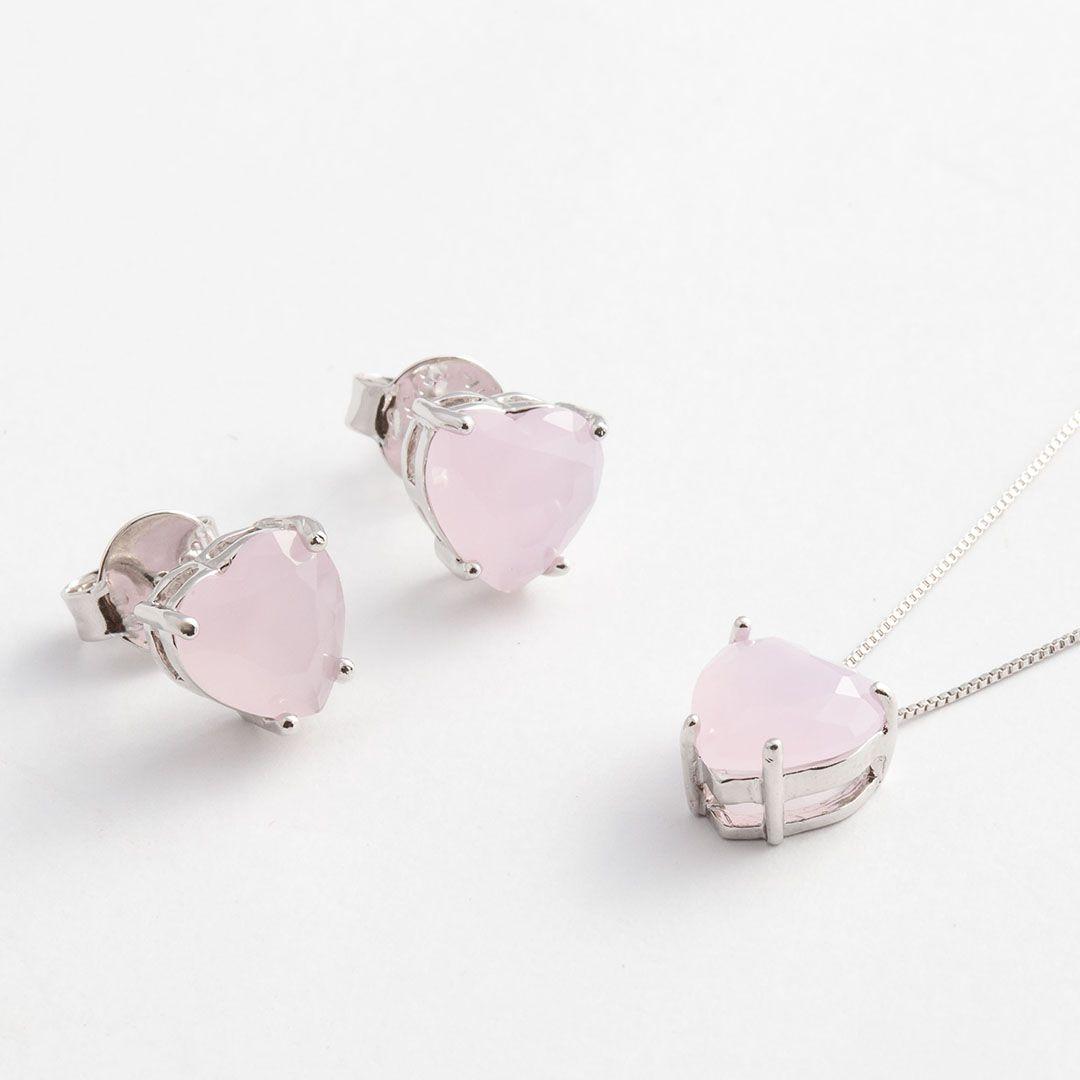 Conjunto Coração Médio em Cristal Rosa Claro fosco com banho em Ródio Branco
