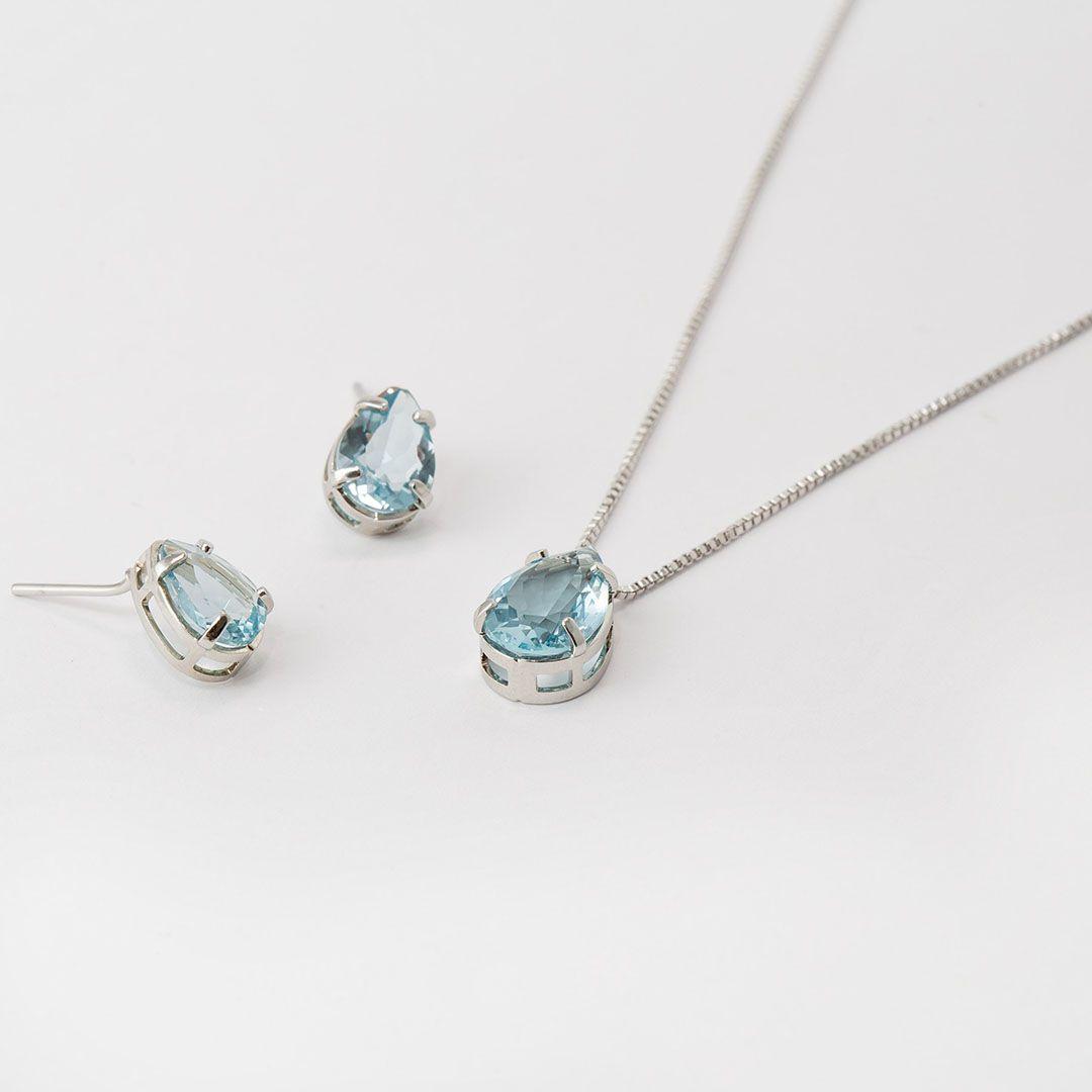 Conjunto de Gota em Cristal Azul Claro com banho em Ródio Branco