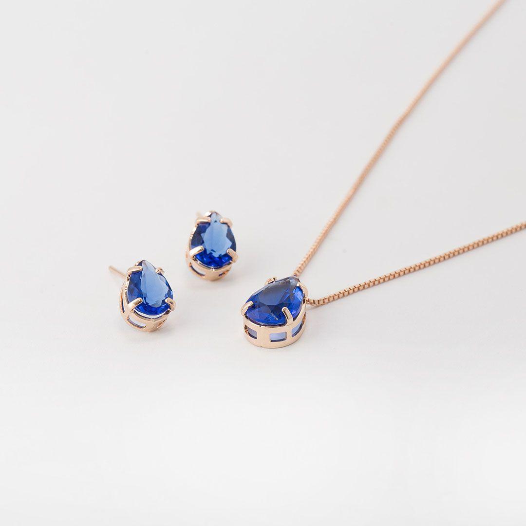 Conjunto de Gota em Cristal Azul Safira com banho em Ouro Rosé
