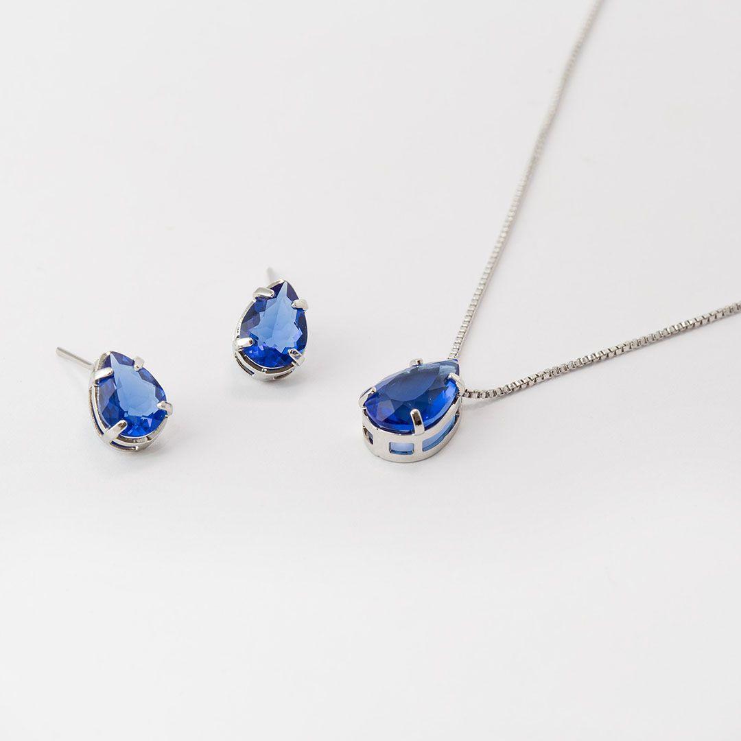 Conjunto de Gota em Cristal Azul Safira com banho em Ródio Branco