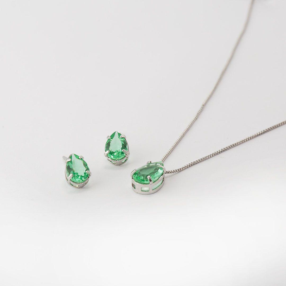 Conjunto de Gota em Cristal Verde Paraíba com banho em Ródio Branco