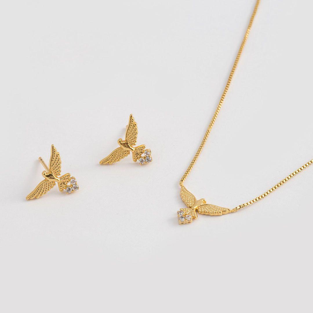 Conjunto de Pássaros com Zircônias e banho em Ouro Amarelo