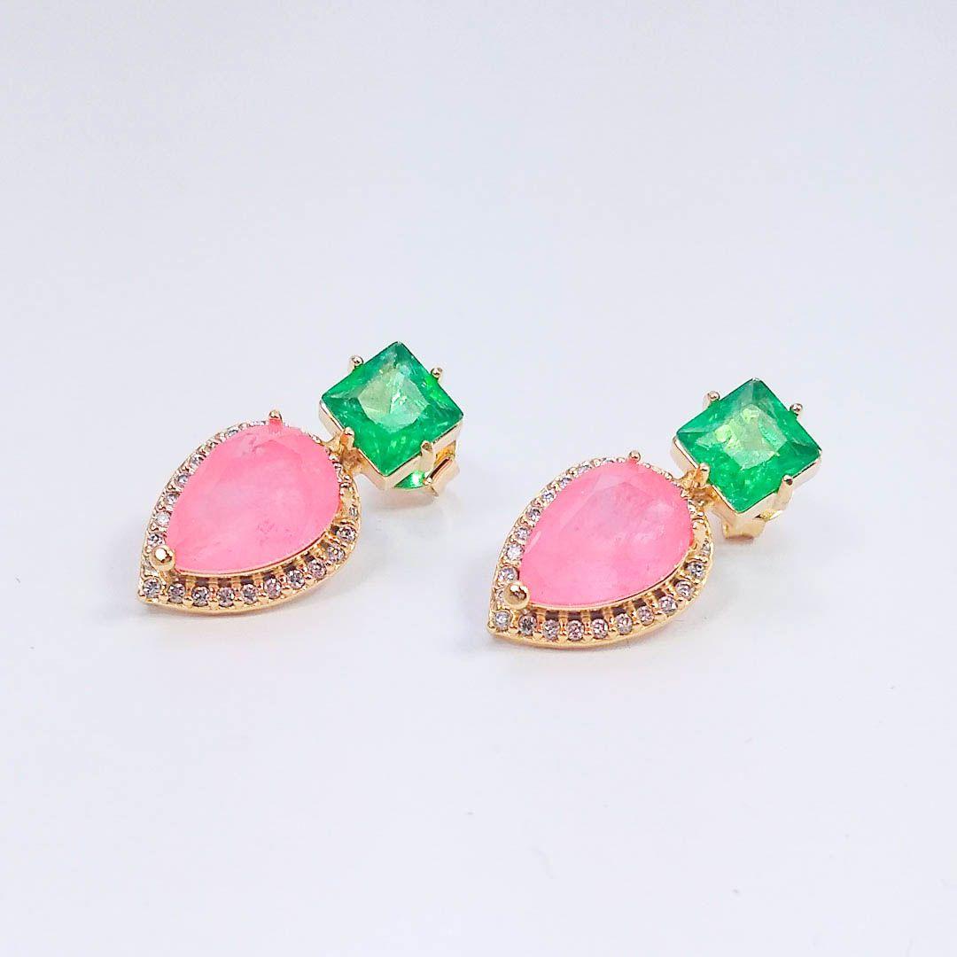 Conjunto Gota Fusion Rosa e Verde Esmeralda com Zircônias e banho Ouro 18k