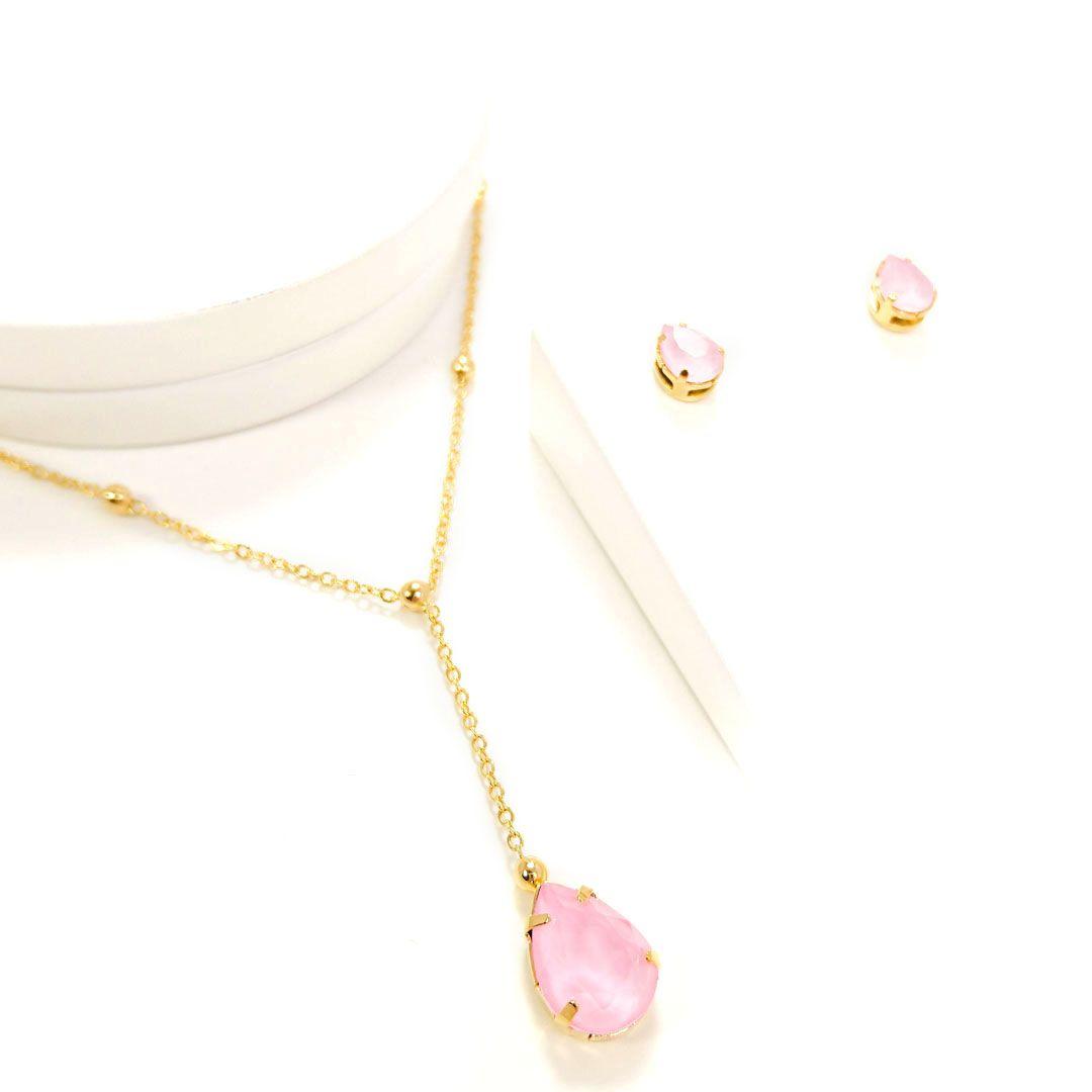 Conjunto Gota Rosa com colar Gravatinha banho Ouro 18k
