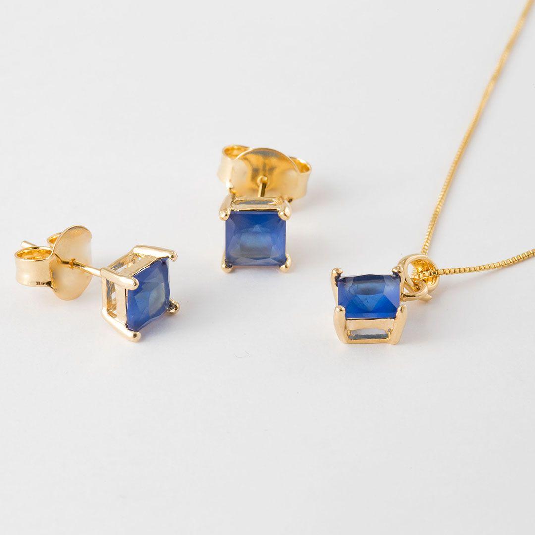 Conjunto Ponto de Luz  Quadradinho em Cristal Azul Safira com banho em Ouro Amarelo