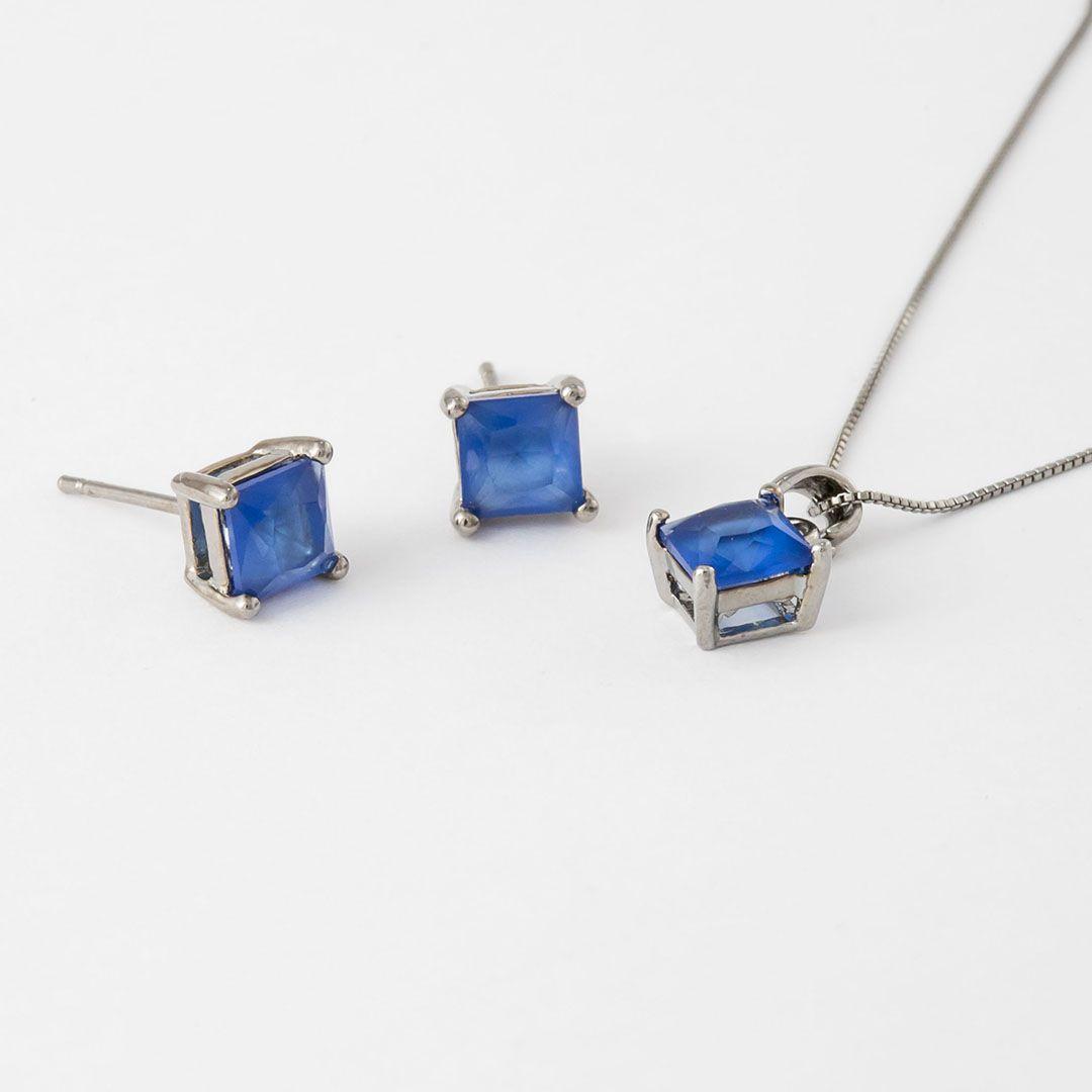 Conjunto Ponto de Luz  Quadradinho em Cristal Azul Safira com banho em Ródio Negro
