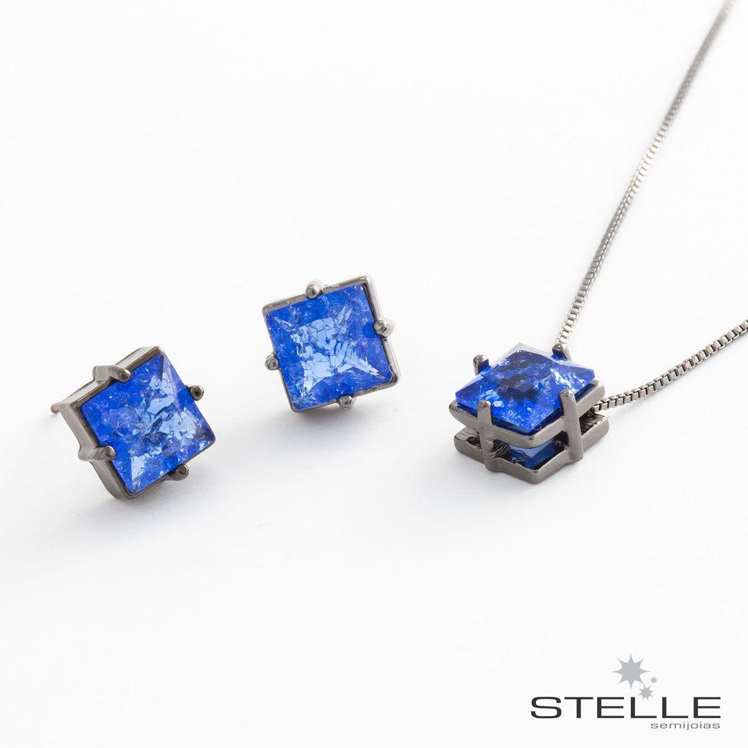 Conjunto Quadrado em cristal Fusion Azul com banho em Ródio Negro - Stelle  Semijoias 2d84c27d0d
