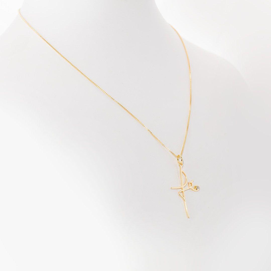 Colar com pingente Fé com Ponto de Luz em Zircônia Branca com banho em Ouro Amarelo