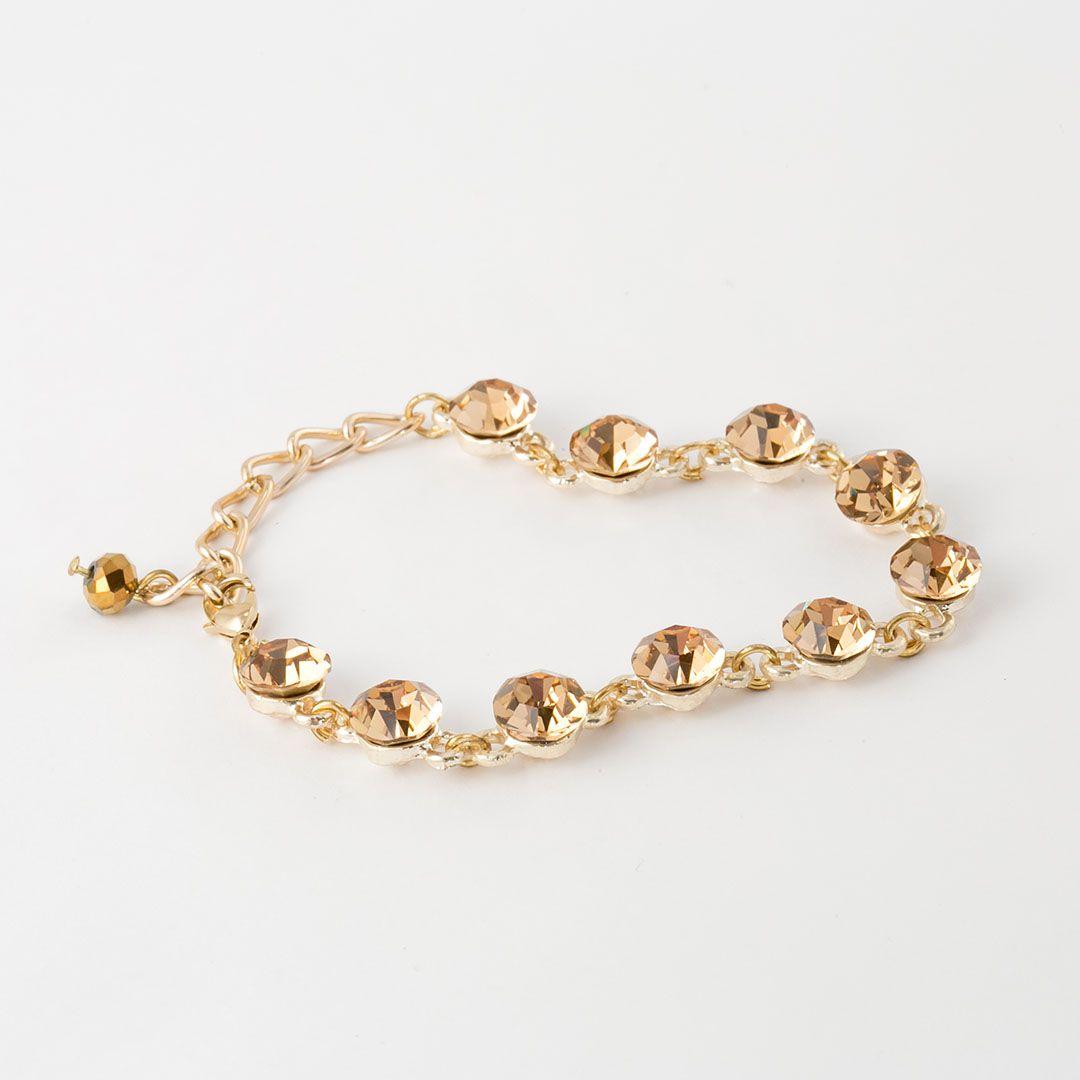 Pulseira com Cristal Swarovski Dourada banhada a Ouro Amarelo