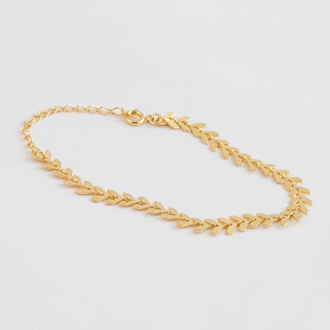 Pulseira com detalhes em Setas banhada com Ouro Amarelo