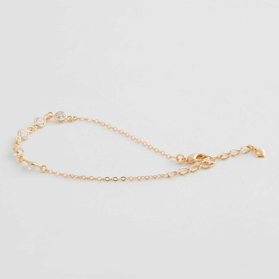 Pulseira com pontos de luz Tiffany em Zircônias brancas com banho em Ouro Amarelo