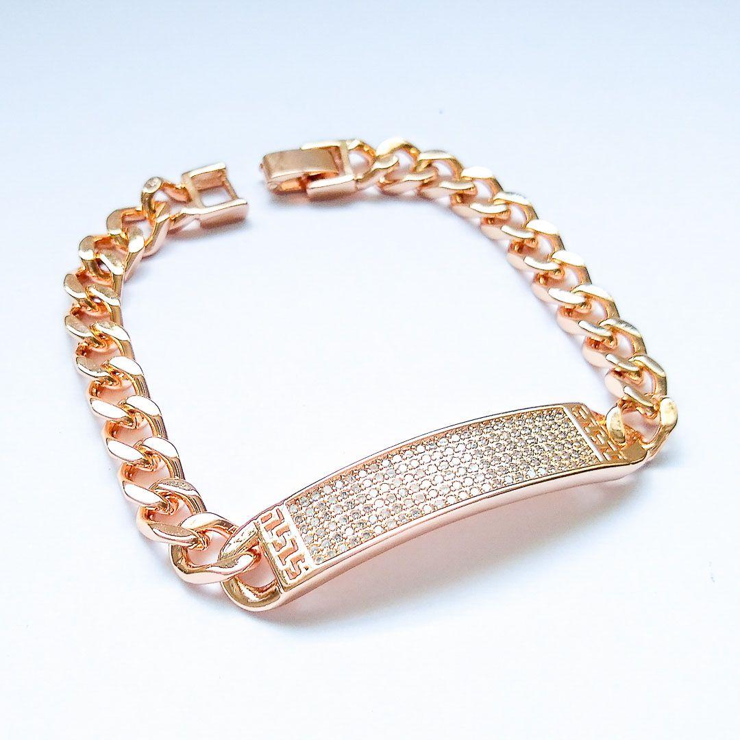 Pulseira Luxo Elos com Placa Cravejada em Zircônias e Banho  em Ouro 18k