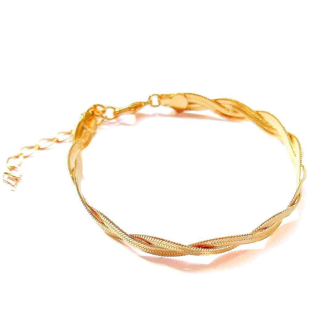 Pulseira Trançada com Banho em Ouro Amarelo