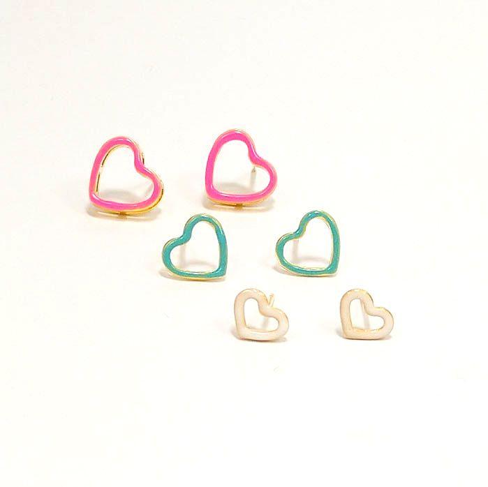 Trio de Brincos Coração Color Neon Banho Ouro