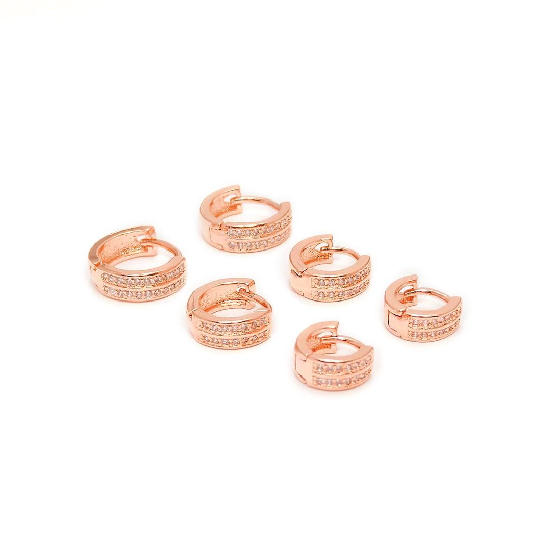 Trio de Brincos de Argola Cravejados Banho Rose Gold