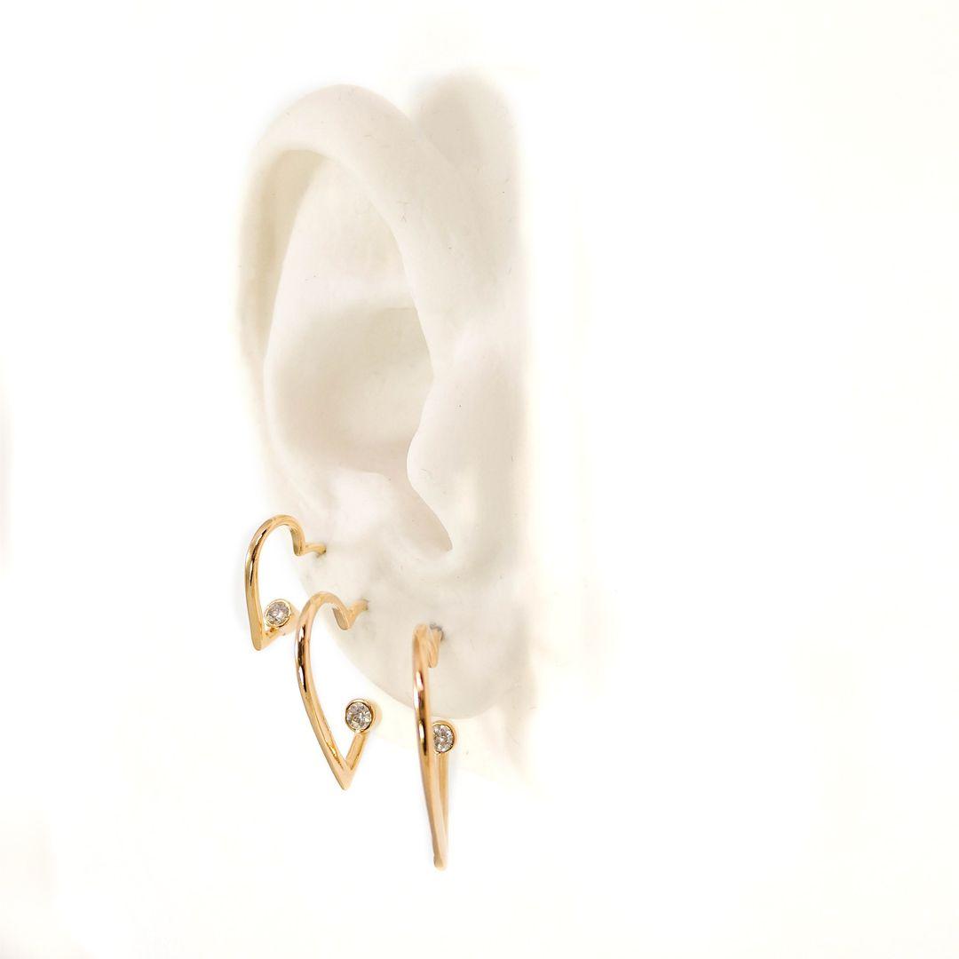 Trio de Brincos de Argola de Coração com ponto de Luz banho Ouro 18k