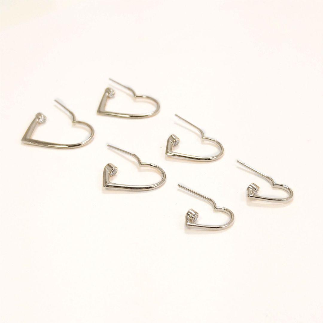Trio de Brincos de Argola de Coração com ponto de Luz banho Ródio Branco