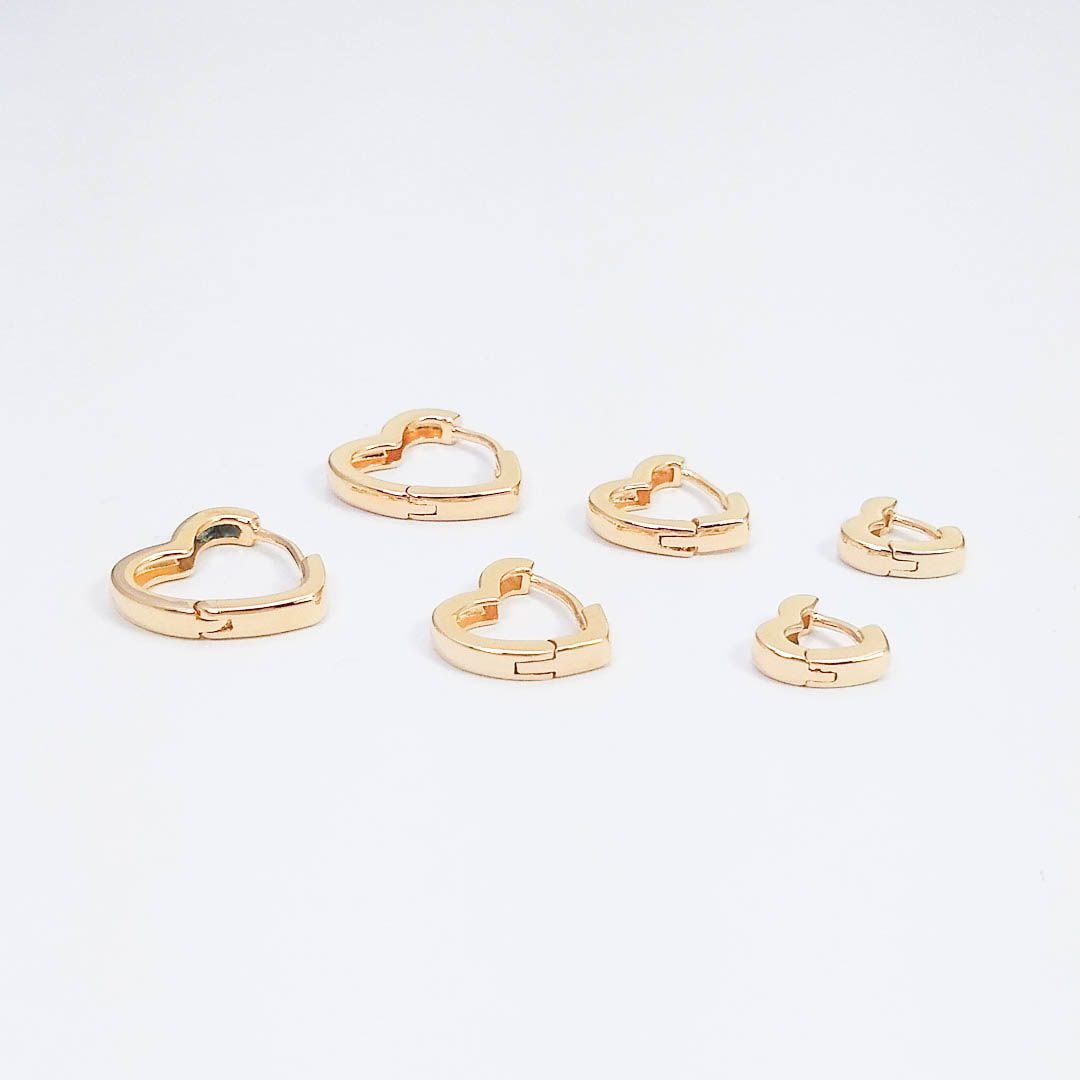 Trio de Brincos de Argola de Coração Lisos banhados a Ouro 18k