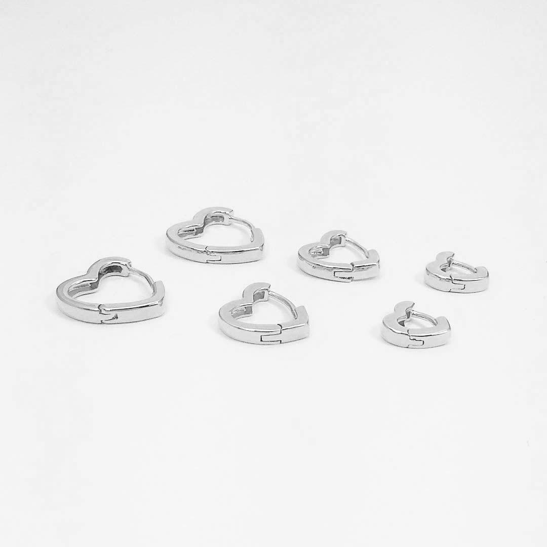 Trio de Brincos de Argola de Coração Banho Ródio Branco