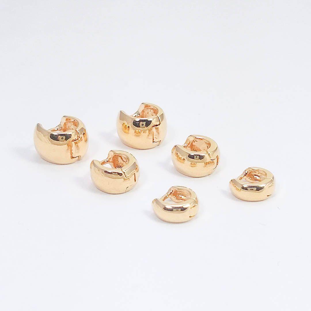 Trio de Brincos de Argola Largas Lisas banhados a Ouro 18k