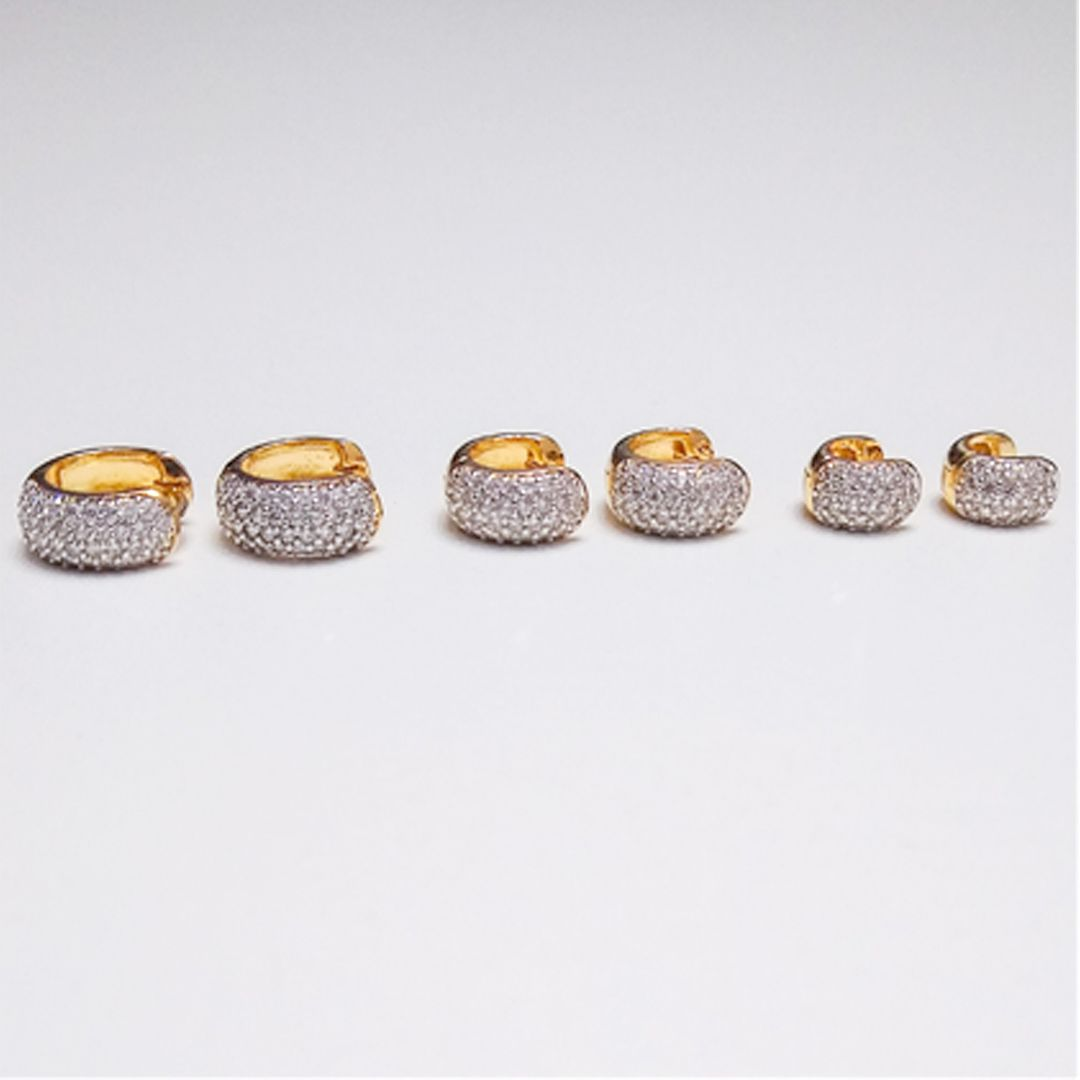 Trio de Brincos de Argola Largas Luxo com Zircônias Brancas banhados a Ouro Amarelo e Ródio Branco