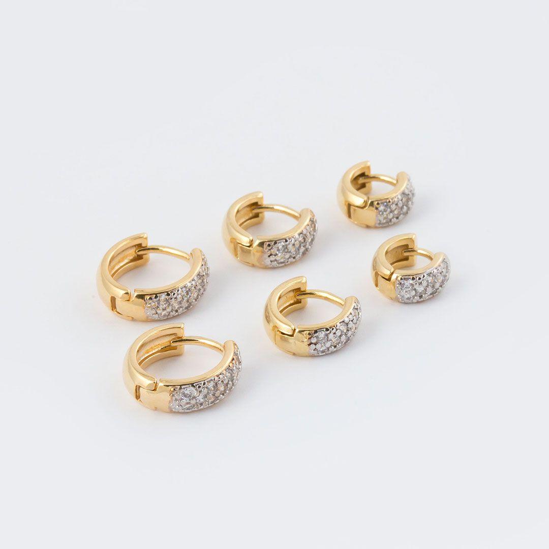 Trio de Brincos de Argola Pequenos com Zircônias Brancas banhados a Ouro Amarelo e Ródio Branco
