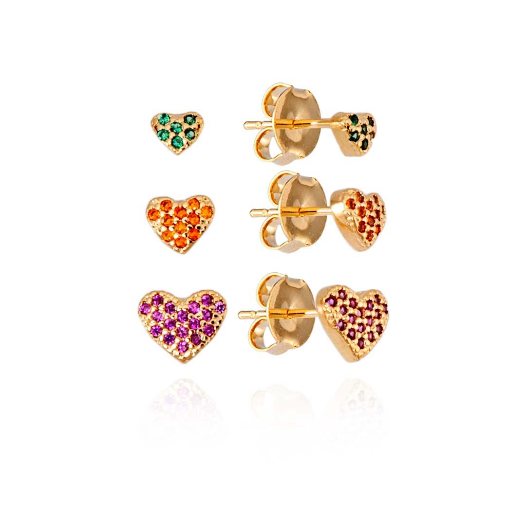 Trio de Brincos de Coração com Zircônias Color banho Ouro 18k