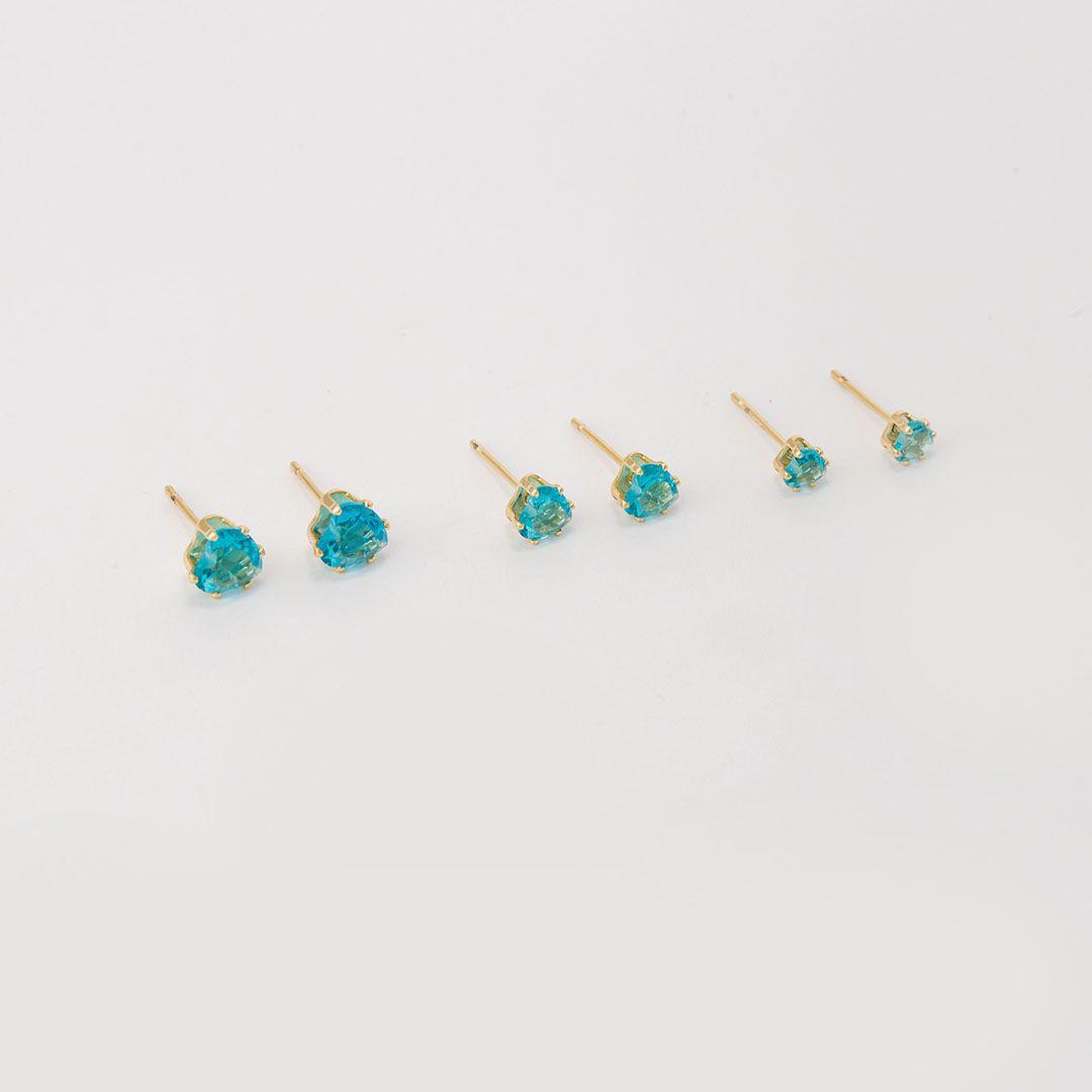 Trio de Brincos Pontos de Luz em Cristal Fusion Azul Turquesa banhados a Ouro Amarelo