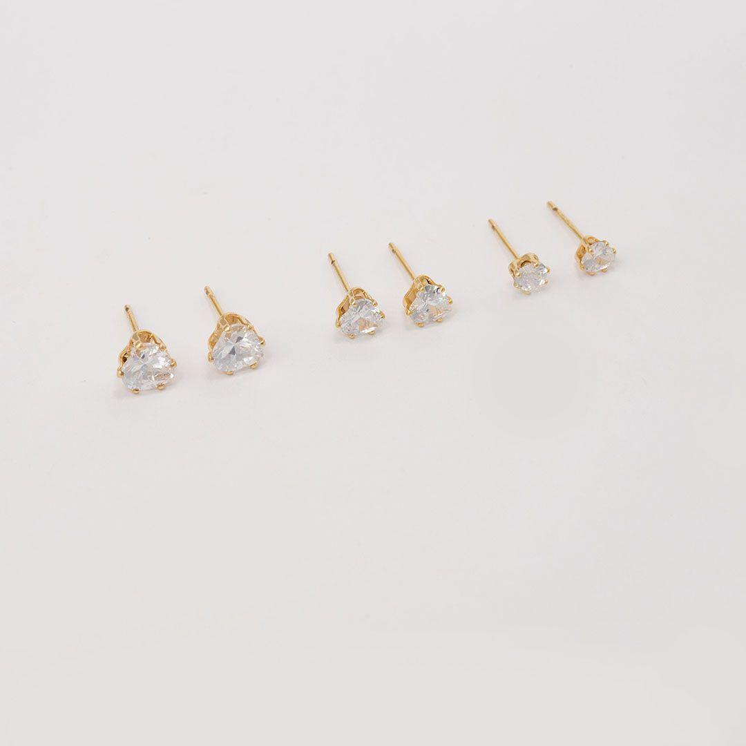 Trio de Brincos Pontos de Luz em Zircônias Brancas banhados a Ouro Amarelo