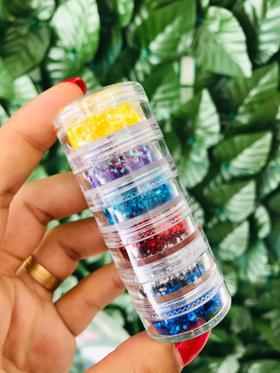 01 Mini torre de glitter focado com 06 potes (A)  - Sílvia Pedrarias & Cia