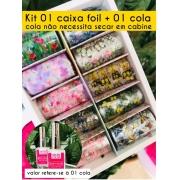 Kit 01 caixa foil floral e borboletas + 01 cola não necessita uso de cabine