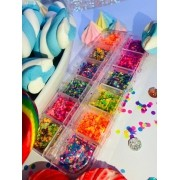 Kit 12 cores glitter chiclete candy