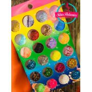 Kit caixa com 24 glitter flocado