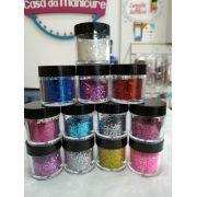 Kit com 12 glitter flocado para encapsulamento
